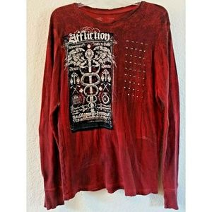 Affliction Distressed Waffle Weave Shirt